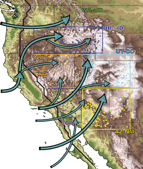 Map Showing The Major Moisture Pathways From The Pacific Ocean Into The Intermountain West