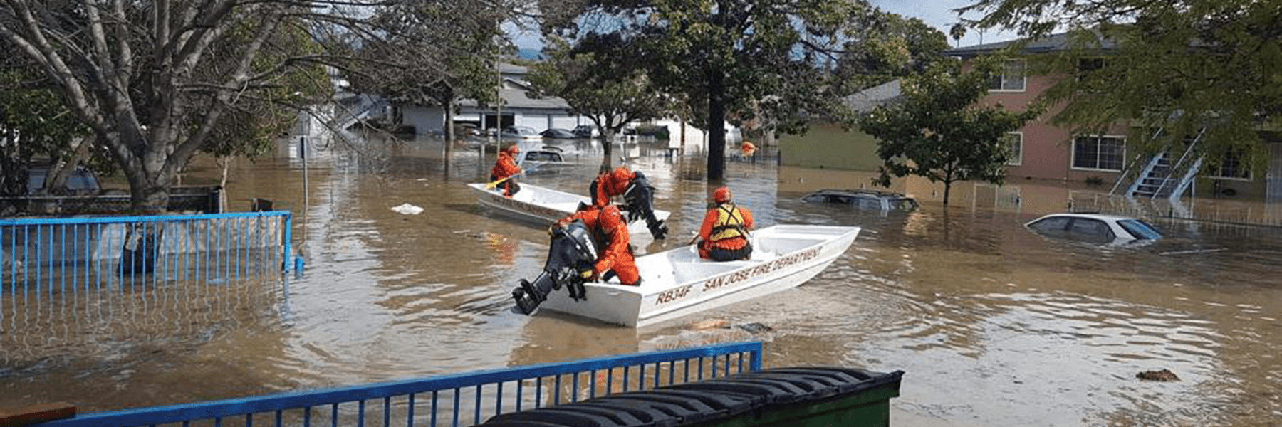 Rescue boats in a flooded neighborhood. Link to article