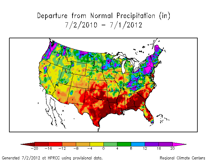 Two-year precipitation departure from normal