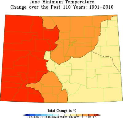 Colorado June Minimum Temperature Trend 1901-2010