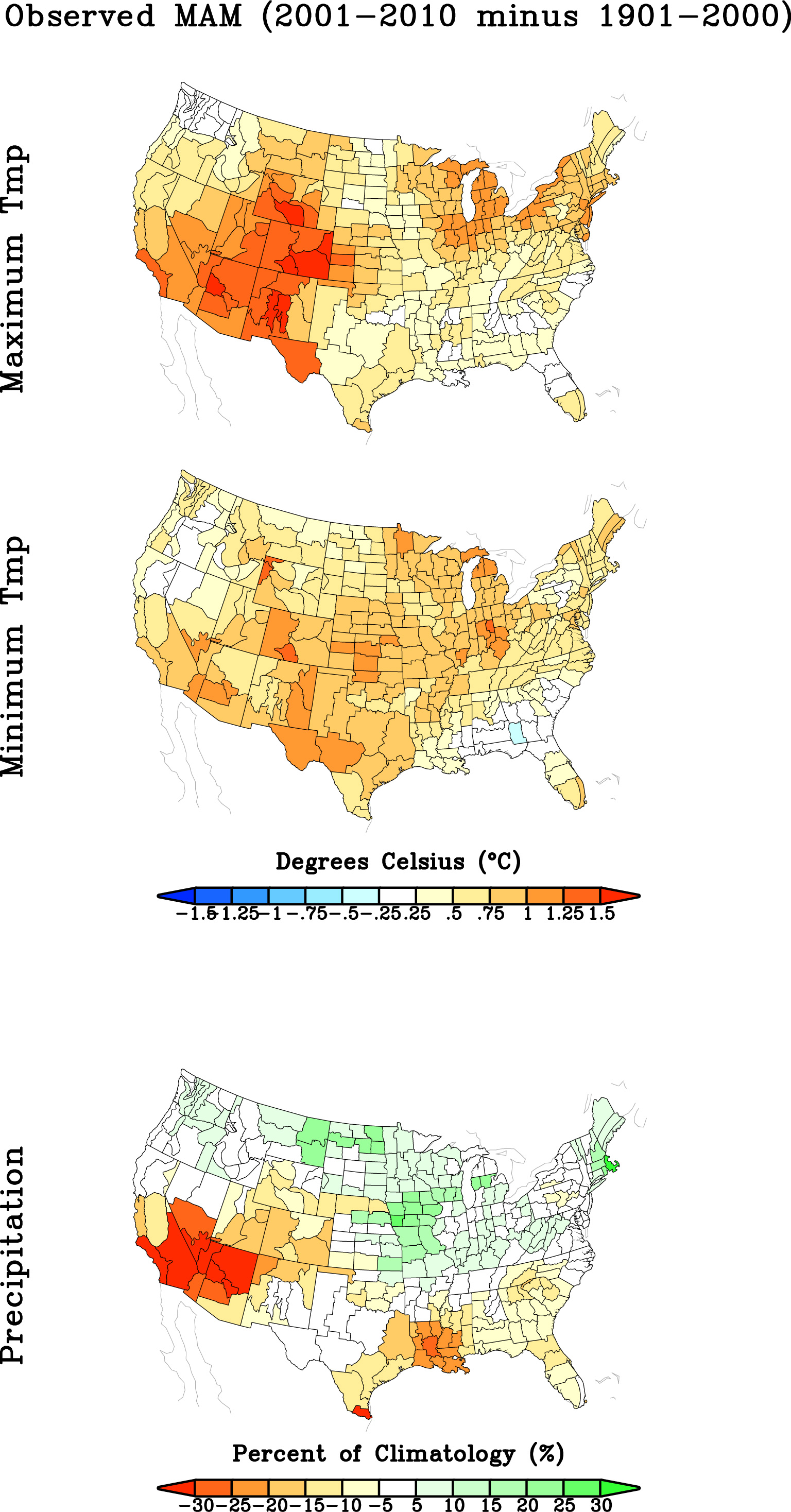 Observed Temperature/Precipitation Trends - 1901-2010